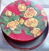 Vintage 1960's Olive Can Tin with Yellow Roses