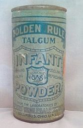 Antique/Golden Rule/Talcum Infant Powder/Advertising Tin ~ circa. 1920