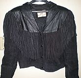 1987 Ladies Black Leather Fringe Jacket