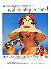 1958 7UP SEVEN-UP Ad - feat. Sun Hat Girl