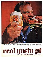 "1964 SCHLITZ BEER Ad - ""Late, late show"""