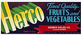 Vintage CRATE LABEL - 'Herco' Brand Fruits & Vegetables