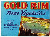 "Vintage CRATE LABEL - 'Gold Rim' Brand ""Texas Vegetables"""