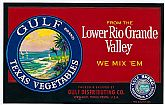 "Vintage CRATE LABEL - 'Gulf' Brand TEXAS Vegetables ~ ""We Mix 'Em"""