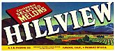 "Vintage Fruit CRATE LABEL - 'Hillview' Brand ~ ""California Selected Melons"""