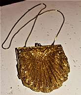 1980s Vintage Clutch Purse with Gold Beading, Sequins and Gold Accordian Chain Strap, Satin Lining, mint condition safe kept