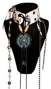 Sybil Resurrected Choker, Necklace One of a kind, Chain, Gem, Stine, Beads and LeatherVariant ways of wearing*