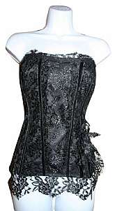 Brand New Hand Made Lace Corset Bustier, size 4, 34C, overflowing lace and nice form fit, zipper back