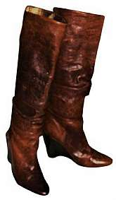 1990s VTG - BCBG Paris Leather Rust Tone Boots, Form Fit Calf Rises to Knee, Ruffles Down or Folds Over To Expose The Gold Metallic Inner, Inner Gold Lining Can Fold All The Way To Cover Heel, 4 styles in 1