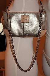 COACH Leather Resurrected Purse - Shoulder Bag, Up-source with added Kilt Pin and Chain, Ultra Clean, one of kind  (coach bag pre-resurrection SRP $108.00), shoulder bag, clutch, 2 in one. All Leather