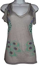 Resurrection, Open Shoulder T Shirt Gray, Peacock Print Size: 6 (S)