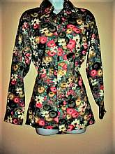 VTG DESIGNERS CHOICE Hipster Blouse 1970's, mint condition, Long Lapel, Floral Print, Women's size MEDIUM, Mens fitted Smallplease see my other auctions as I sell rare vintage, burlesque hand made items, vintage ensembles and rare antiques