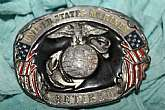 Vintage Belt Buckle United States Marines, Retired, Pewter, Siskiyou Buckle Co., aged with rustic history, collectible in durable lasting design