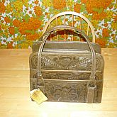 Flores' Handbag, beautifully, hand carved leathercraft handbag