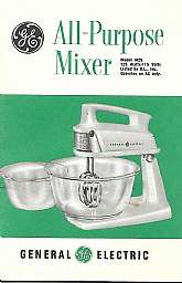 1960's General Electric all purpose mixer booklet, combo mixer, Model M25. Booklet is 4