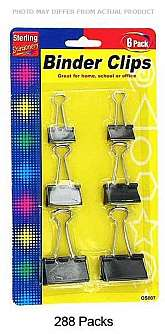 Each pack contains a set of 6 binder clip. Binder clips are ideal for paper stacks that require more strength and durability than a paper clip. Perfect for home, school and office. Each pack comes with 6 binder clips in three assorted sizes. Sizes are 3/4