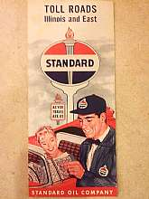This neat vintage map is a blast from the past! It features Toll Roads, Illinois and East. It advertises the Standard Oil Company on the front of the map.