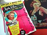 Cute 1950's Header Card for Lady Ellen Hollywood Pin Curl Clips. Features an entry form to live like a movie star for 2 fun-packed weeks! It would look adorable in a vintage inspired salon or vintage-themed bathroom!