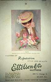 *Vintage Ettelson & Co Clothiers Postcard - Joliet, ILL* Est. Circa 1920's - 40's (it shows a Copyright of 1909 but that may be for the photo on the post card)* Unused!* It measures 3.5