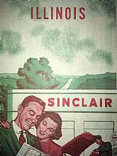 This vintage 1950's Illinois Sinclair map is in excellent condition. There is some highlighting for a route. No visible tears or creases. Nice item for a petroliana collector! With GPS systems it kind of seems like maps have gone the way of dinosaurs thes