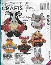McCalls 6662 Craft Holiday Sewing Pattern Seasonal Animal Goody Baskets Decorations 6 Styles Treat Baskets Containers Six Occasions, Decor, Gift Giving, Treat CraftsReindeer, Scarecrow, Duck, Cow, Elephant, BunnyThis Paper sewing Pattern is Factor