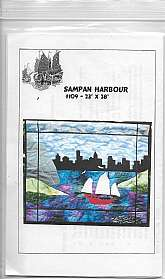 Sampan Harbor #109 Quilted Wall Hanging Size 23 inches x 28 inches Sewing Pattern Like new never used with instructions in plastic sleeve. Can also be a lap quilted cover.This can also be used as large throw pillow cover by adjusting for pillow inser
