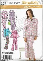 Sleepwear Womens Simplicity 3571 Sizes 10 to 18 Lounge PJs Pajamas Different styles long sleeves, short sleeves.Different style collars with bag to match outfit oruse for anything.Tissue Pattern is Factory Folded with InstructionsEnvelope in good co
