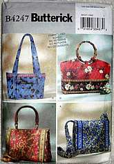 Butterick 4247 Sewing Pattern Shopping Totes Travel Bags Handbags Description Package includes patterns and instructions for four bags. Bag A: 10 inches W x 8 inches L. Bag B: 17 inches W x 10 inches L. View A,B: contrast tabs, bands and lining.