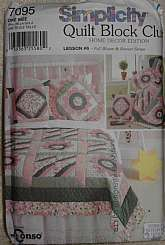 Simplicity 7095 Home Decor Full Bloom and Roman Stripe Quilt Block Pattern Flower Quilt Pattern, Roman Stripe Quilt Pattern,Shirley Botsford Designs.Complete and Factory Folded Uncut.Pattern Envelope Good Condition
