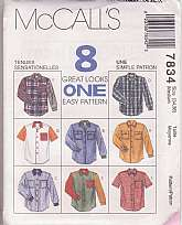 McCalls 7834 Pattern Sewing, Misses Shirts, Men's Shirts, Size Medium 34-36, Long or Short Sleeves, Contrast Colors, 8 Different Looks,Factory Folded uncut. Envelope has some shelf wear.tissue pattern and instructions in excellent condition.