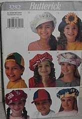 Butterick Pattern 3282Children's Sun Caps HatsBoys and GirlsAll small fit -21.5 inches, Medium fit -22.25 inches, Large fit -23 inches.Pattern and Instruction for 12 twelve hatsand purchased trims needed.Date 1994This pattern is factory folded