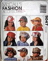 McCall's Fashion Accessories Hats Children Pattern 9047 Boys and Girls UnisexCaps Sunhats Assorted decorate them any way you like. Great for play, dress up, school, costumes, everyday or just because your little one likes hats. Factory Folded Uncut i