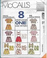 McCalls 8231 Pattern Child 7 8 10 Girls Tops Shrugs and Pull-On Shorts Summer Sets, Mix Match SetsTops with front or back buttoned bodice,feature sleeves and trim variations. Pull-on shorts with side seam pockets have elastic through fold-back wais