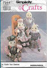 Easter Egghead Doll and Clothes Pattern Simplicity 7311 This is a 1991 Vintage Simplicity Crafts sewing pattern designed by Faith Van Zanten. Simplicity Crafts Pattern 7311. The Package includes instructions and patterns for Stuffed Egghead Dolls.
