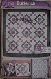 Butterick Sewing Pattern 5732  Aunt Nancy's Quilt That Patchwork Place One Size Package includes a brief history of quilting as well as patterns and instructions for Quilt A: 44