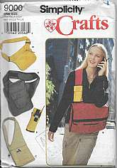 Simplicity 9000 Crafts Sewing PatternCarry All Bags, Fanny Pack, Cross, Side Left Right Over Shoulders Totes, Cell Phone Cases, Tab Closures.All Sizes Views: Bags and Cell Phone CaseA... Approx. 11 x 15 inches (28cm x 38cm)B... Approx. 11.5 x 14 in