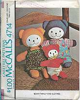 Vintage Bear Family and Clothes Mom Dad and Baby Stuffed Bears Mom and Dad Bears, Overalls and Diaper. Stuffing Batting is Not included. McCalls 4714 Sewing Pattern