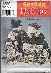 Simplicity 7399 Holiday Sewing Pattern 2 Snowmen and 2 Snowwomen Decor Four Stuffed Dolls Sizes 22 33 inches High Dresses Pantaloons Jumpsuits Tops 4 Hat Styles Christmas Crafts This Paper sewing Pattern is Factory Folded Uncut with Instructions.