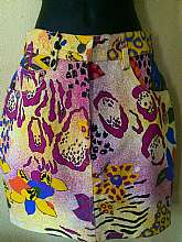 "Vintage 80s High Waist Skirt By Nini FerrucciZipper button closure5 pocketDenim100% cottonPunk, Retro print multi colorsTagged size 6Measures lying flatwaist 13"" acrosships 18""length waist to hem 18""Great vintage conditionFree s"