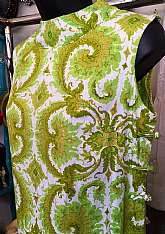 "Round stand up collarLime, gold & white color combo with paisley design printBack zipper closureSold at Lord & TaylorDesigned by Markasia In ThailandLabeled size 8Measures lying flat Chest 17"" acrossWaist 17""Hips 19""Lengt"