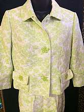 "Carlisle Pant SetCrop Jacket has a convertible collar type Snap closure with large floral over sized buttonsTwo front flap pocketsTagged size 4Measuresbust 36""waist 32""sleeves 17 1/2""total length shoulder to hem 19 1/2&quo"