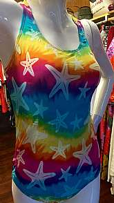 "Racerback strapsFront liningSuper goovey rainbow tye dye typwe with starfish printSpeedo on front right chestTagged size 14Measures lying flatchest pit to pit 14"" across 28"" totalwaist 14"" = 28""total length shoulder to crotch 2"