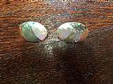 "Oval crushed mother of pearl studsMeasures length 1 1/2""width 1""Great vintage conditionFREE U.S. SHIPPING"