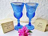 NIB Avon Fostoria Goblets George & Martha Washington Candle Holders New Vintage Collectible Blue Glass Goblet Set 4 Candles Included Home Decor Housewarming Christmas Birthday Hostess Gift. Here are 2 New in the original boxes Avon Fostoria blue goble