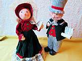 Christmas Caroling Dolls Vintage Dickens A Christmas Carol Victorian Singing Couple Collectible Man Woman Figures Dolls Red Green Sheet Music Holiday Home Decor Ornamental Collectible Christmas Dolls. These are a pair of vintage Christmas Caroling Dolls f