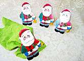 Santa Claus Napkin Rings Holders Vintage Set of 4 Unused New Lg Wooden