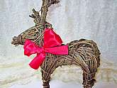Rustic Stick Reindeer Figurine Statue Vintage Organic Folk Tree Limb Vine Handmade Large Animal Deer Figure Home Decor