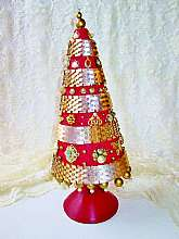 Red Gold Vintage Jewelry Christmas Tree OOAK Lg Costume Jewelry Tree Sculpture Christmas Holiday Ornament Centerpiece Home Decor Sculpture