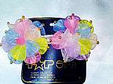 Multi Color Flowers Large Barrette New Vintage Transparent Acrylic Gold Beaded Silver Metal Hair Jewelry