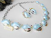 Pakula Blue Waves Choker Necklace & Earring Set Vintage New Demi Parure Blue Moonglow Thermostat Aurora Borealis AB Crystal Rhinestones w Original Tags Unworn
